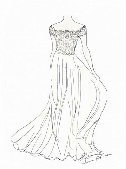 Drawing Flowing Lace Designs Clothes Dresses Sketches