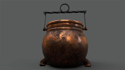 asset medieval copper cooking pot cgtrader
