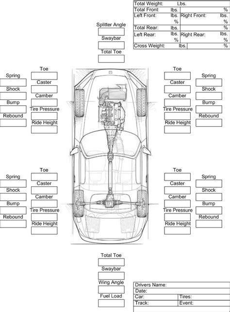 Printable Race Car Setup Sheets