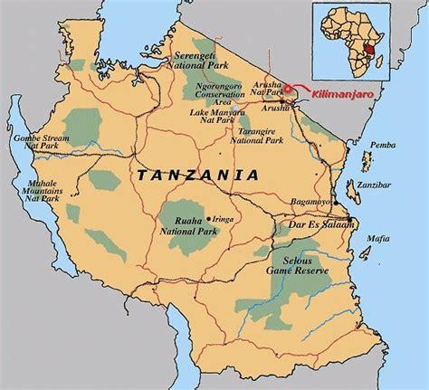 karten von tansania mit strassenkarte und sehenswuerdigkeiten