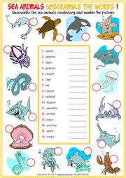 sea animals esl printable worksheets  exercises