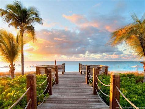 tropical summer beach  view   sea bridge