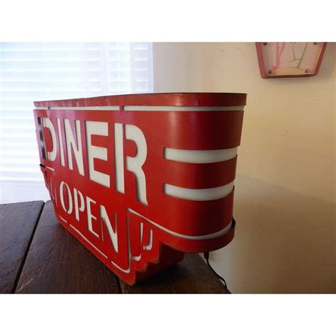 red american wall diner sign light  metal box