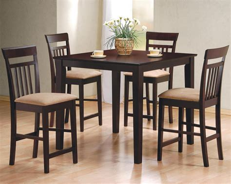Dining Room Dark Brown Stained Wooden Pub Table Beautify