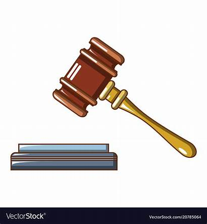 Judge Gavel Cartoon Icon Vector Lifted Royalty