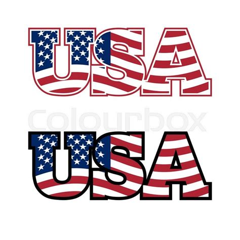 Letter Usa by Usa Text Flag Usa United States Of Stock Vector