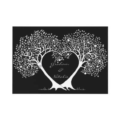 engagement invitation black  white tree love