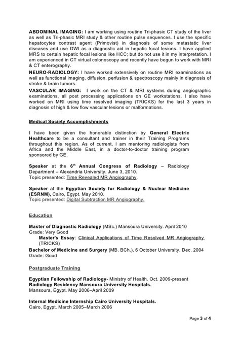 Curriculum Vitae For Radiologic Technologist by Radiologist Resume