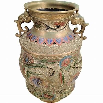 Vase Japanese Antique Bronze Champleve Enamel Ruby