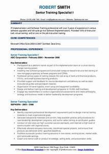 Senior Training Specialist Resume Samples