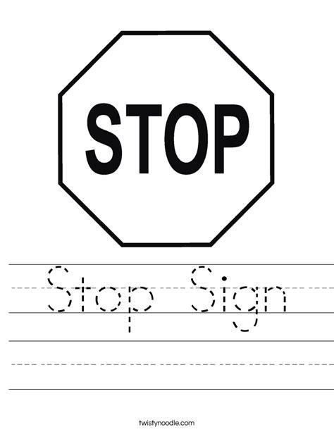 Stop Sign Worksheet  Twisty Noodle