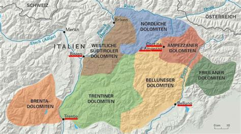 italien dolomiten karte kleve landkarte