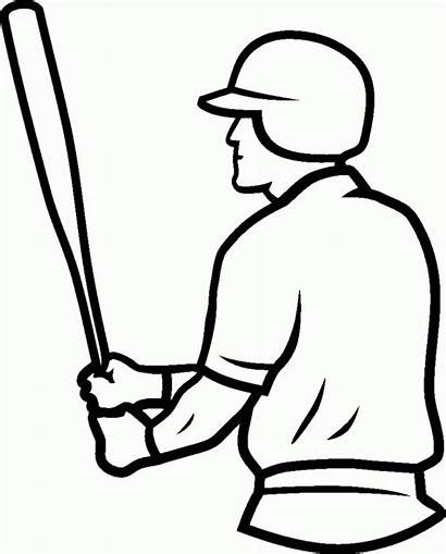 Baseball Coloring Field Pages Batter Drawing Draw