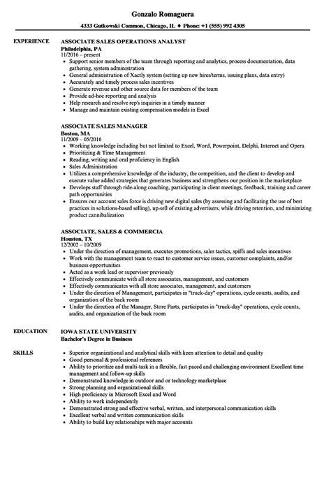 Exle Of Sales Associate Resume by Associate Sales Resume Sles Velvet