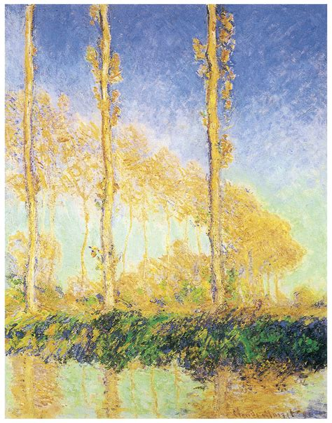 The Poplars Three Trees Fall Painting by Claude Monet