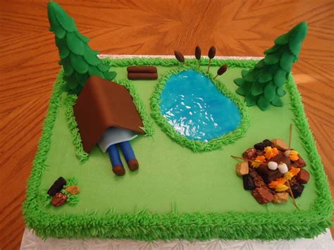camping theme cakes ideas  pinterest camping