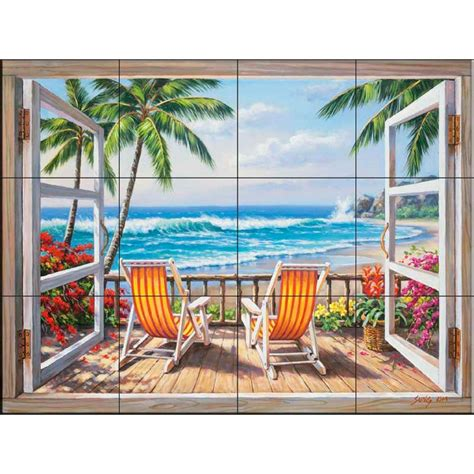 The Tile Mural Store Tropical Terrace 24 In X 18 In