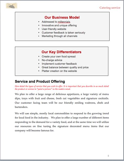 catering business plan  sample pages black box