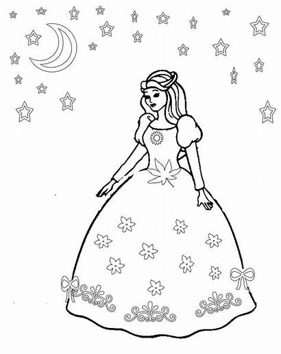 Princess Coloring Pages Dresses Elena Barbie Drawing