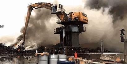 Excavator Giant Trash Massive Fire Scrapyard Battle