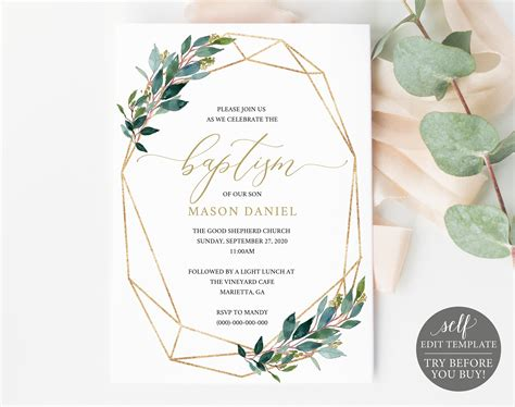 Baptism Invitation Template TRY BEFORE You BUY Printable