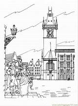 Coloring Town Prague Hall Sightseeing Coloringpages101 Printable sketch template