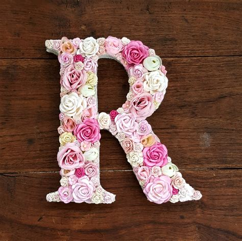 flower letter floral letter pink flowers personalised wall letter initial nursery decor