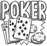 Poker Coloring Pages Chips Table Drawing Cards Doodle Printable Card Getcolorings Getdrawings sketch template