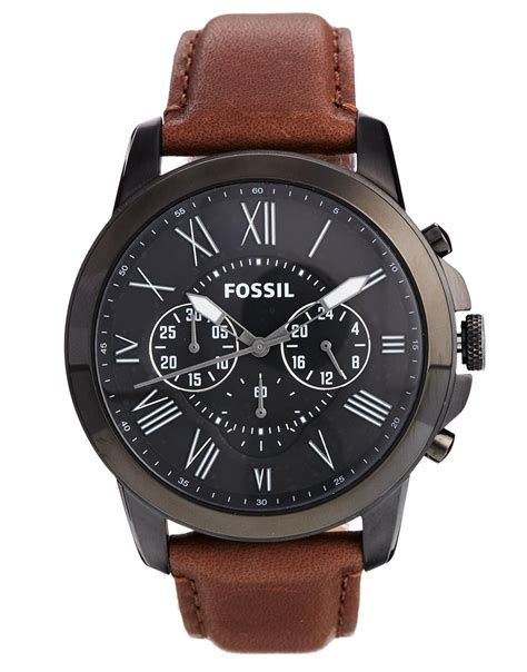 lyst fossil grant brown leather strap chronograph