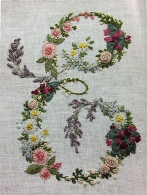 floral monogram hand embroidery embroideryletterspatterns hand embroidery letters ribbon