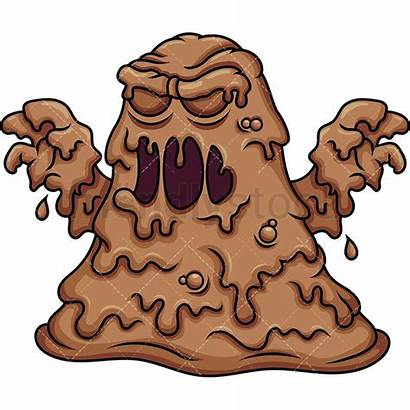 Mud Cartoon Monster Clipart Vector Brown Friendlystock