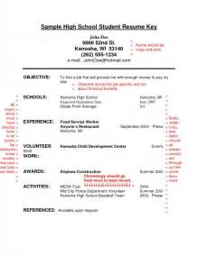 resume templates canada high school students resume exles for highschool students sles of