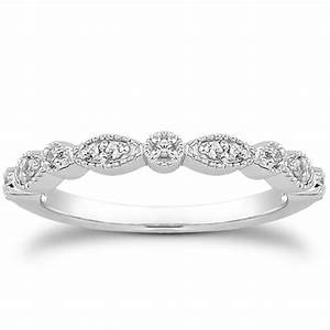 fancy pave diamond milgrain wedding ring band in 14k white With wedding ring diamond band