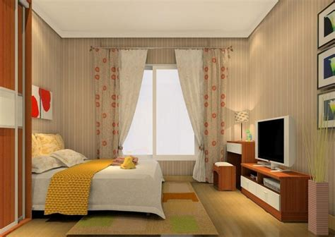 3d rendering of curtains and tv cabinet modern bedroom
