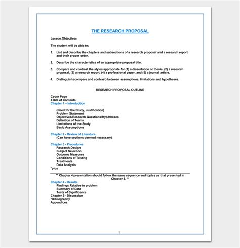 chapter outline template   formats examples