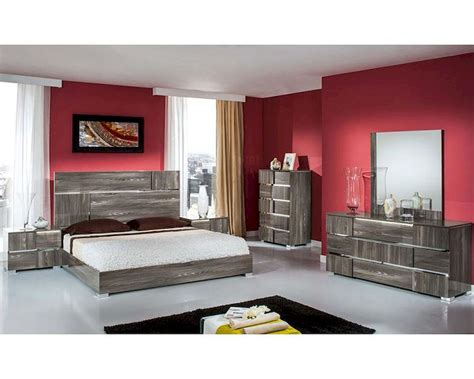 contemporary italian bedroom set  grey lacquer bset