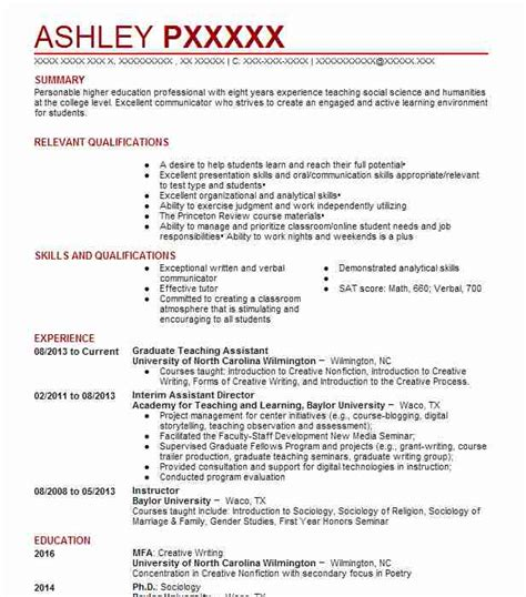 Teaching Assistant Resume by Graduate Teaching Assistant Resume Sle Livecareer