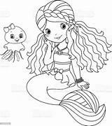 Mermaid Coloring Vector Cartoon Illustration sketch template