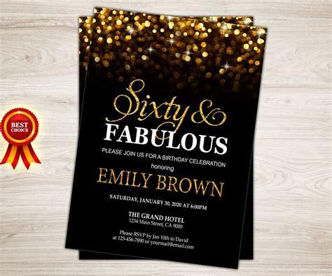 surprise  birthday invitation  women sixty
