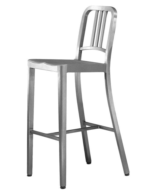 navy stool bar chair h 76 cm brushed aluminium by emeco