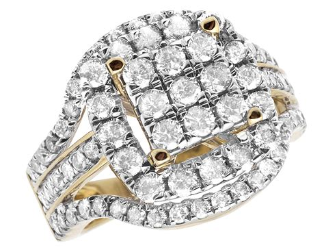 10k Yellow Gold Ladies Cluster Real Diamonds Wedding