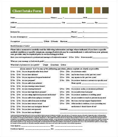 intake form template    documents