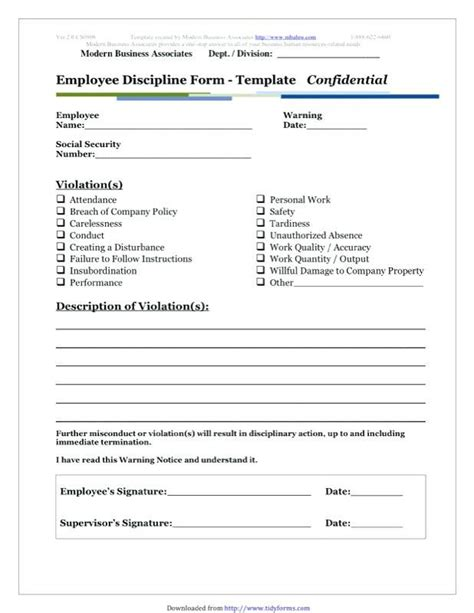 employee misconduct form template write  templates