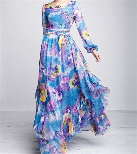 Bell Long Short Belted Floral Printed Full Sleeves Dresses u2013 Designers Outfits Collection
