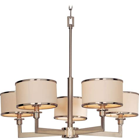 satin nickel chandelier with drum l shades 12055wtsn