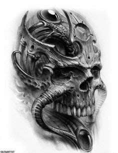 Bio Mecanic Skull Drawings | bio mechanical tattoo for chest and arm | tattoos | Pinterest