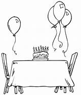Coloring Table Birthday Clipart Colouring Printactivities Birthdays Popular Coloringhome Library sketch template
