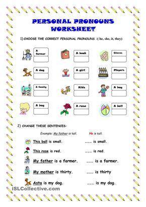 personal pronouns worksheet kindergarten level