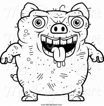 Ugly Pig Line Drawing Panting Clipart Swine