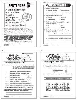 simple compound sentences worksheets task cardsnd